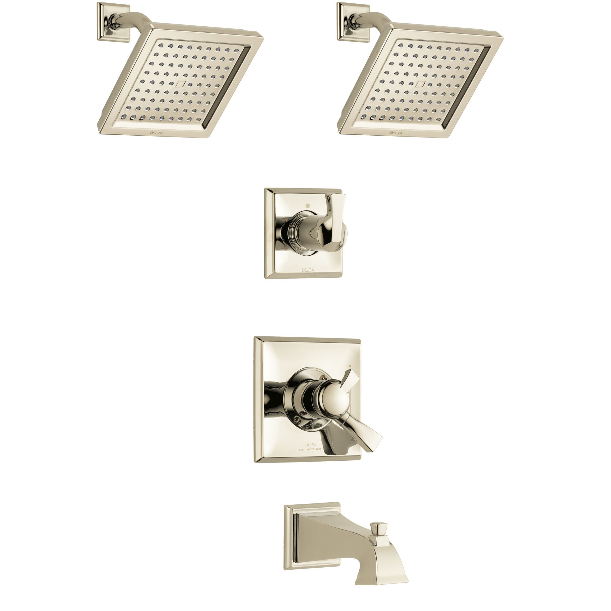 Delta Dryden Polished Nickel Finish Tub and Shower System with Dual Control Handle, 3-Setting Diverter, 2 Showerheads SS17451PN4