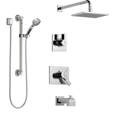 Delta Vero Chrome Finish Tub and Shower System with Dual Control Handle, 3-Setting Diverter, Showerhead, and Hand Shower with Grab Bar SS1745313