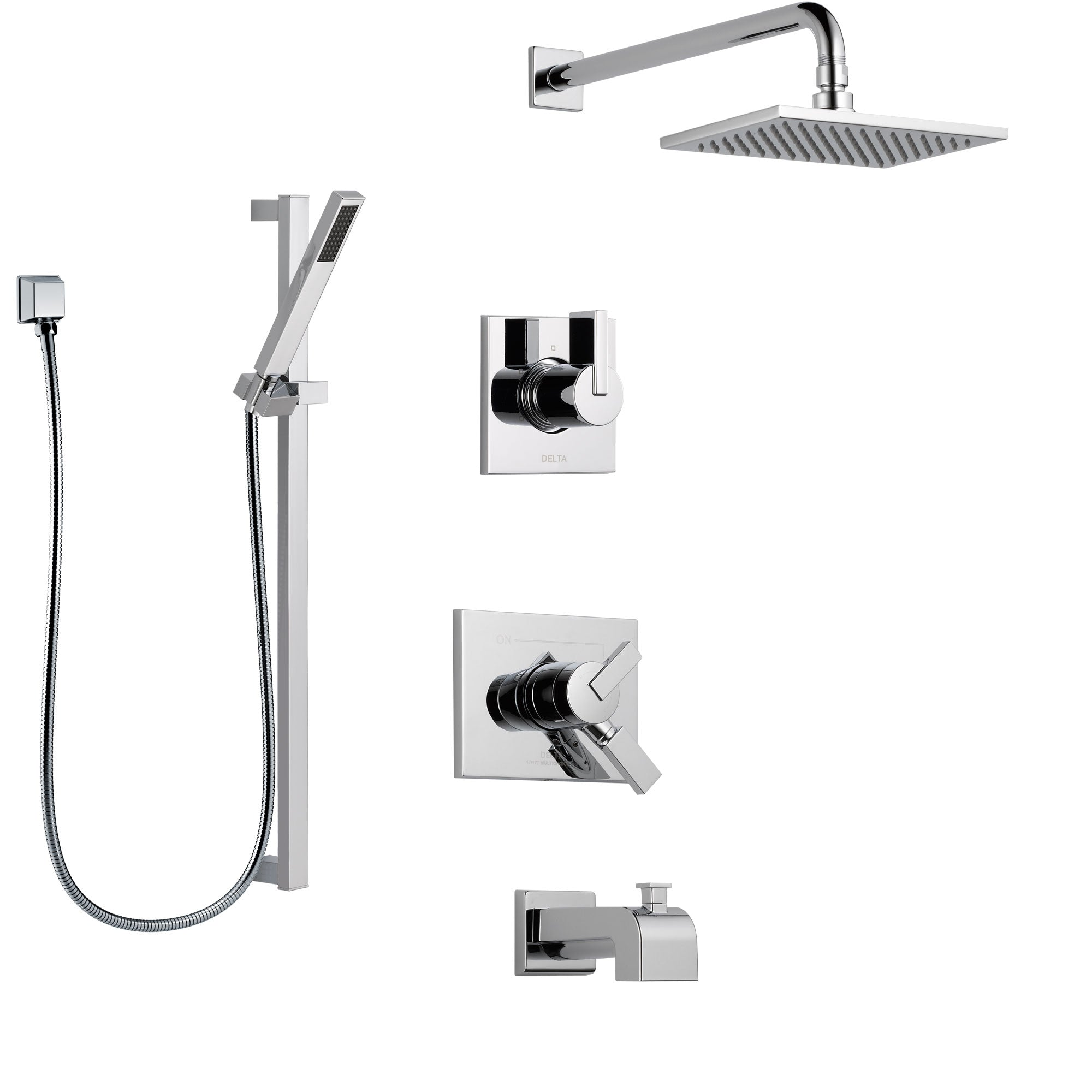 Delta Vero Chrome Finish Tub and Shower System with Dual Control Handle, 3-Setting Diverter, Showerhead, and Hand Shower with Slidebar SS1745314