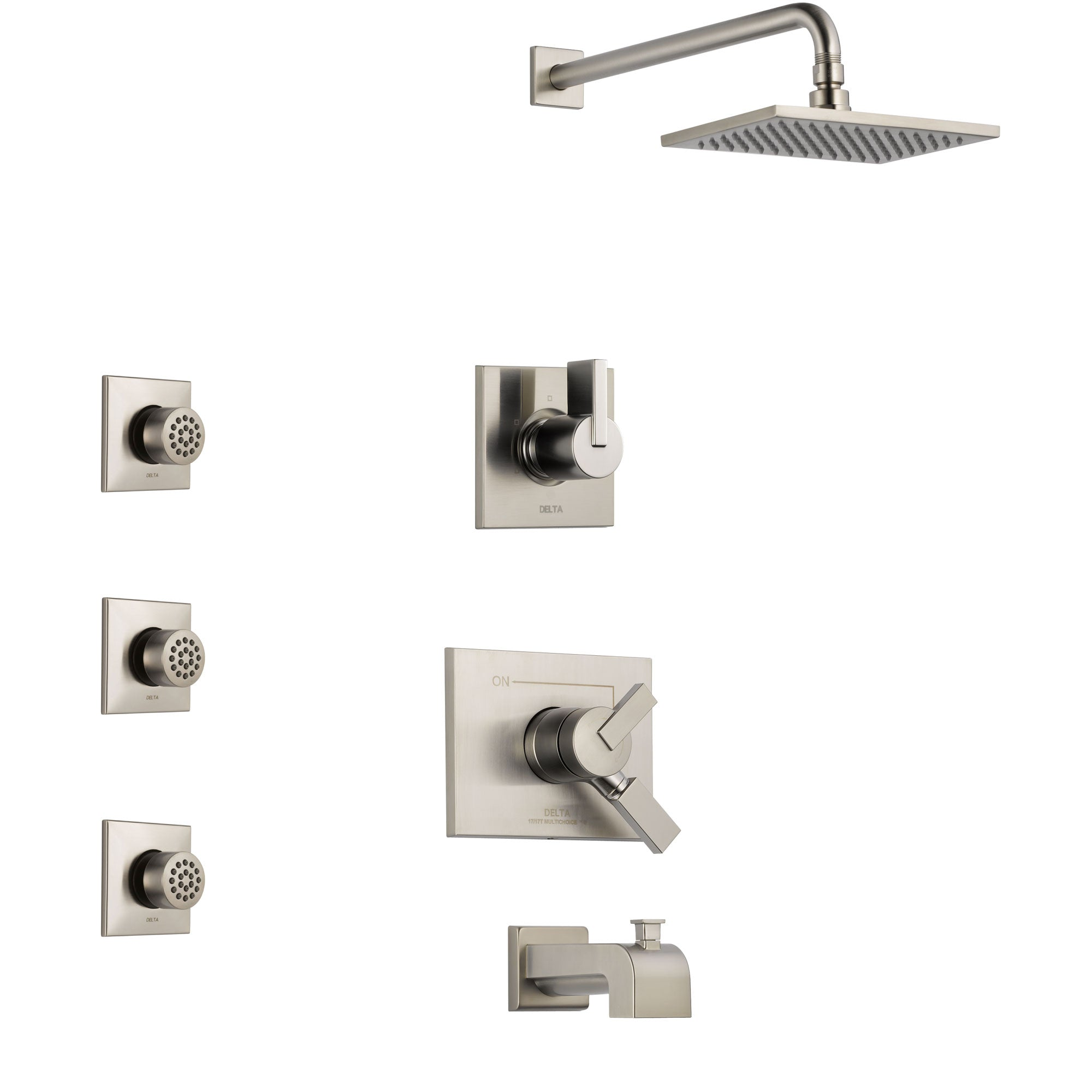 Delta Vero Stainless Steel Finish Tub and Shower System with Dual Control Handle, 3-Setting Diverter, Showerhead, and 3 Body Sprays SS174531SS1