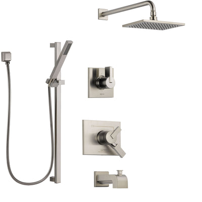 Delta Vero Stainless Steel Finish Tub and Shower System with Dual Control Handle, Diverter, Showerhead, and Hand Shower with Slidebar SS174531SS4