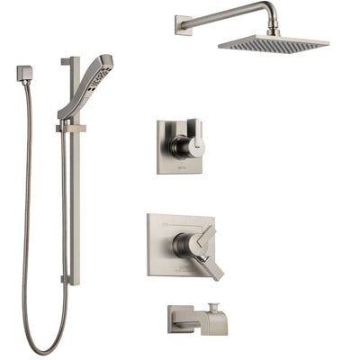 Delta Vero Stainless Steel Finish Tub and Shower System with Dual Control Handle, Diverter, Showerhead, and Hand Shower with Slidebar SS174531SS5