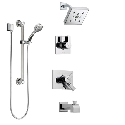 Delta Vero Chrome Finish Tub and Shower System with Dual Control Handle, 3-Setting Diverter, Showerhead, and Hand Shower with Grab Bar SS1745323