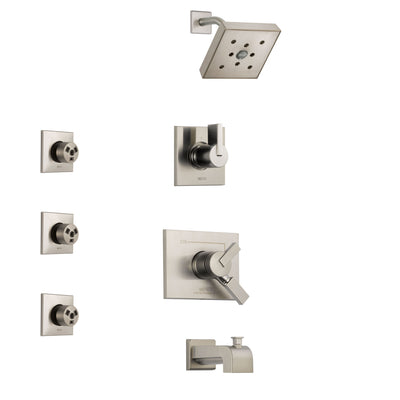 Delta Vero Stainless Steel Finish Tub and Shower System with Dual Control Handle, 3-Setting Diverter, Showerhead, and 3 Body Sprays SS174532SS2