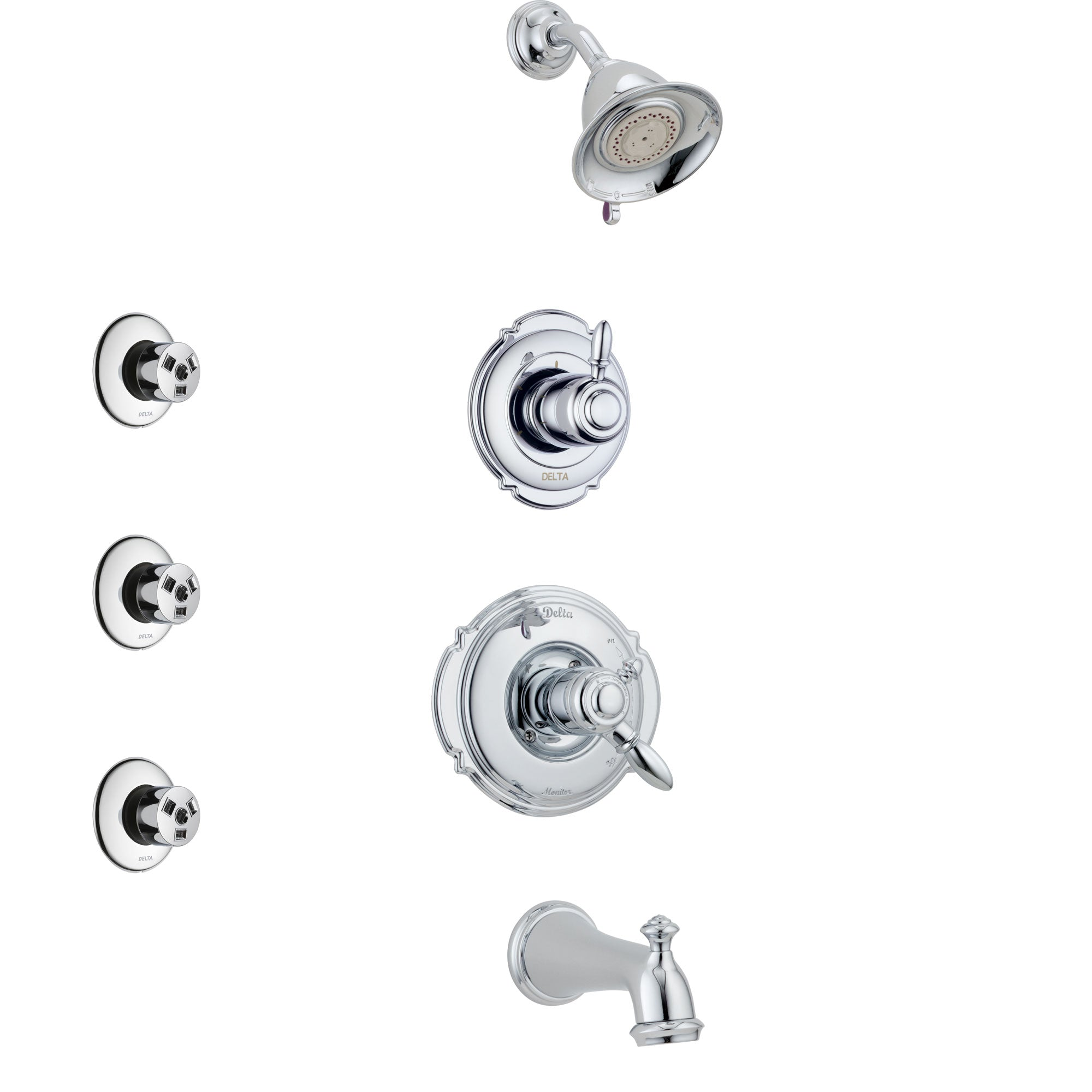 Delta Victorian Chrome Finish Tub and Shower System with Dual Control Handle, 3-Setting Diverter, Showerhead, and 3 Body Sprays SS1745512