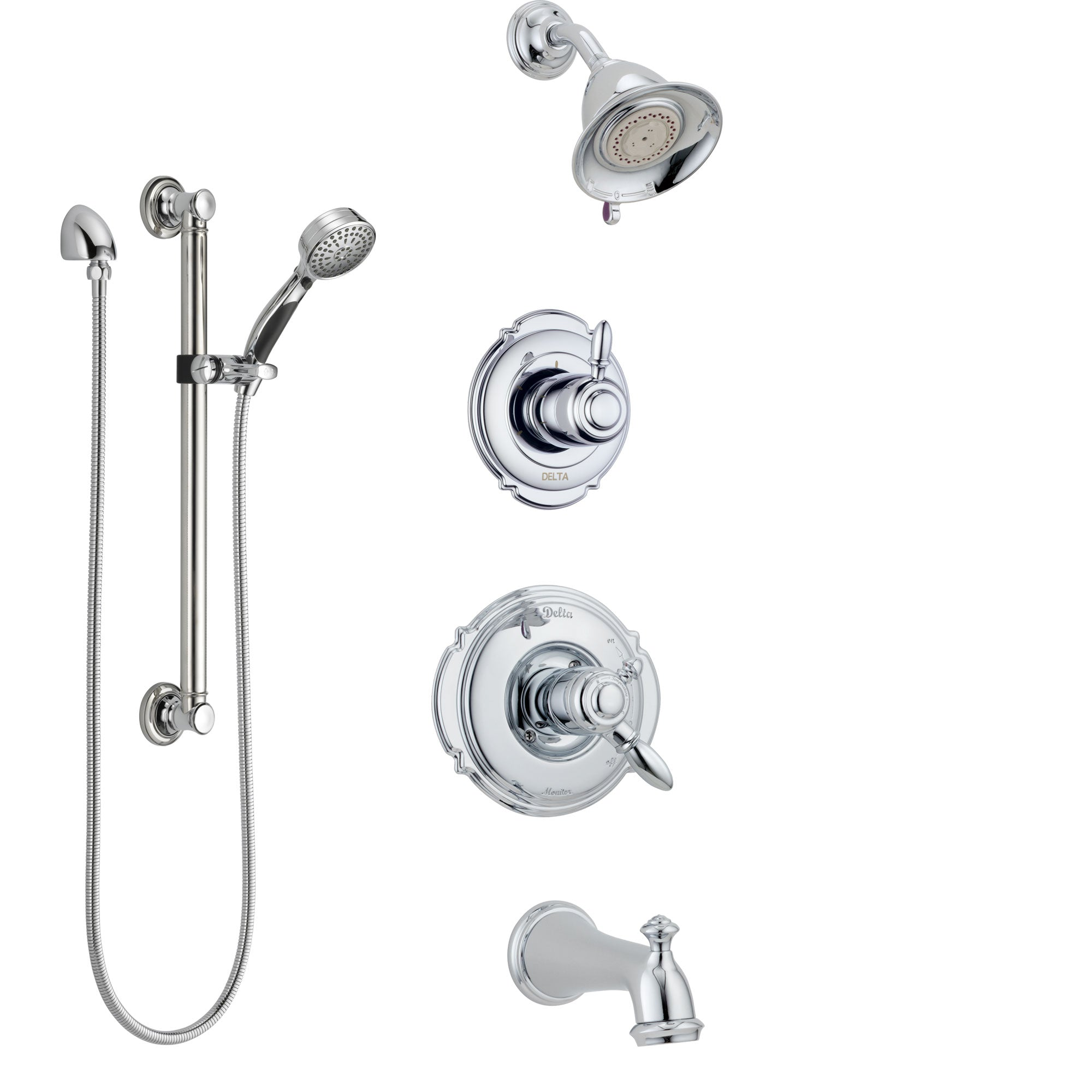 Delta Victorian Chrome Finish Tub and Shower System with Dual Control Handle, 3-Setting Diverter, Showerhead, and Hand Shower with Grab Bar SS1745513