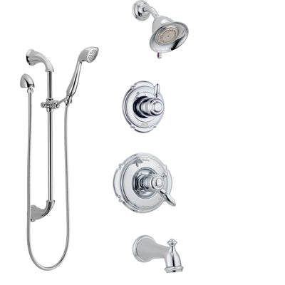 Delta Victorian Chrome Finish Tub and Shower System with Dual Control Handle, 3-Setting Diverter, Showerhead, and Hand Shower with Slidebar SS1745514
