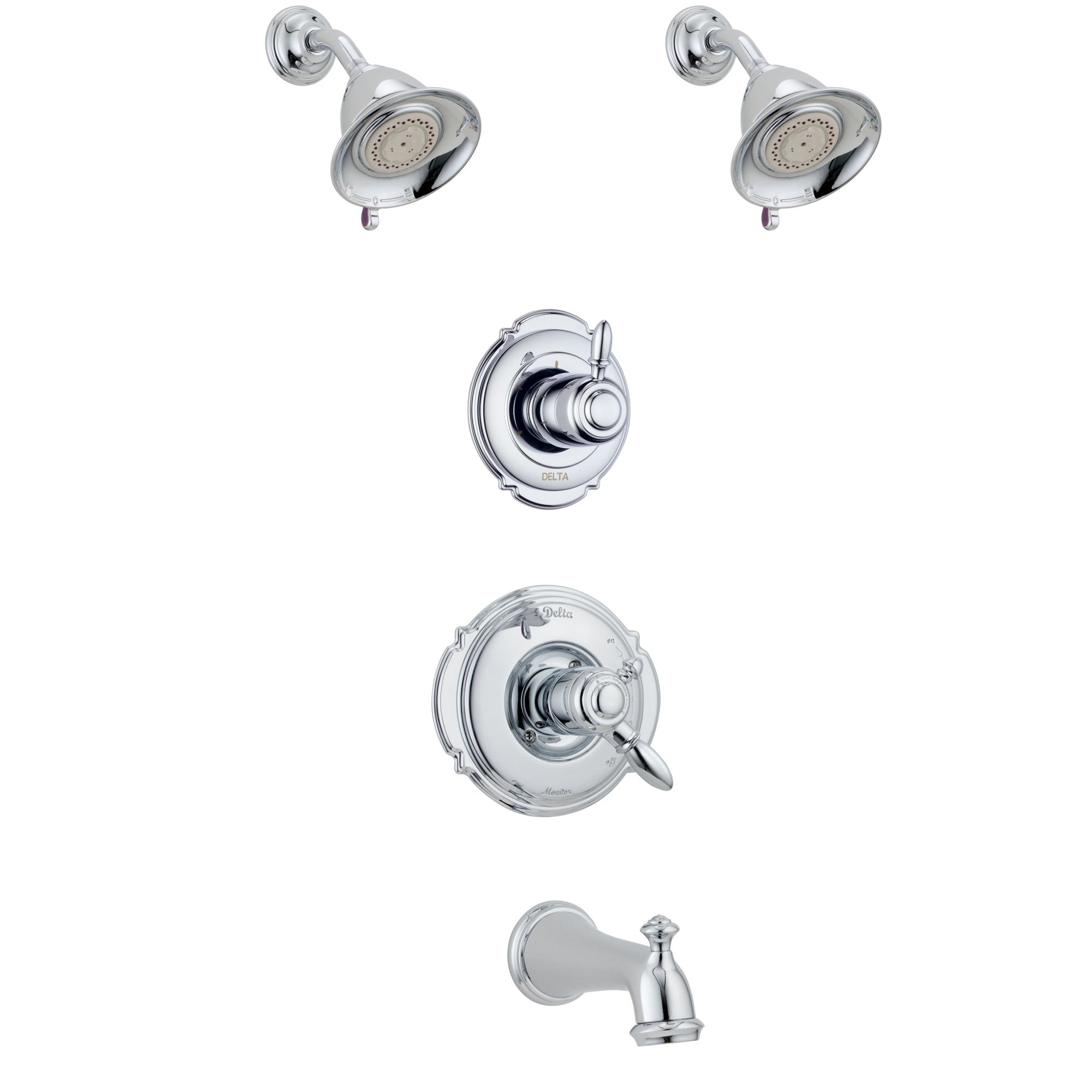 Delta Victorian Chrome Finish Tub and Shower System with Dual Control Handle, 3-Setting Diverter, 2 Showerheads SS1745516