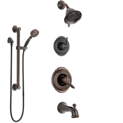 Delta Victorian Venetian Bronze Tub and Shower System with Dual Control Handle, Diverter, Showerhead, and Hand Shower with Grab Bar SS174551RB3