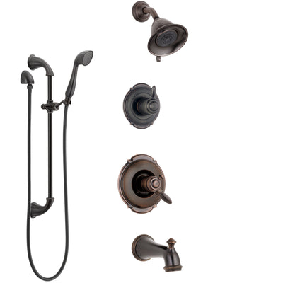 Delta Victorian Venetian Bronze Tub and Shower System with Dual Control Handle, Diverter, Showerhead, and Hand Shower with Slidebar SS174551RB4
