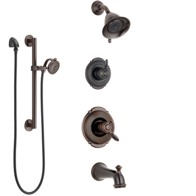 Delta Victorian Venetian Bronze Tub and Shower System with Dual Control Handle, Diverter, Showerhead, and Hand Shower with Grab Bar SS174551RB5