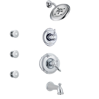 Delta Victorian Chrome Finish Tub and Shower System with Dual Control Handle, 3-Setting Diverter, Showerhead, and 3 Body Sprays SS1745521