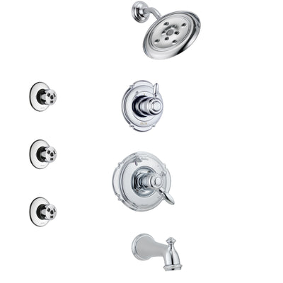 Delta Victorian Chrome Finish Tub and Shower System with Dual Control Handle, 3-Setting Diverter, Showerhead, and 3 Body Sprays SS1745522