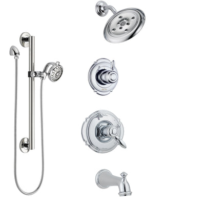 Delta Victorian Chrome Finish Tub and Shower System with Dual Control Handle, 3-Setting Diverter, Showerhead, and Hand Shower with Grab Bar SS1745525