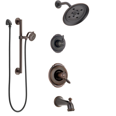 Delta Victorian Venetian Bronze Tub and Shower System with Dual Control Handle, Diverter, Showerhead, and Hand Shower with Grab Bar SS174552RB5