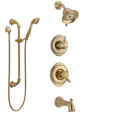 Delta Victorian Champagne Bronze Tub and Shower System with Dual Control Handle, Diverter, Showerhead, and Hand Shower with Slidebar SS17455CZ2