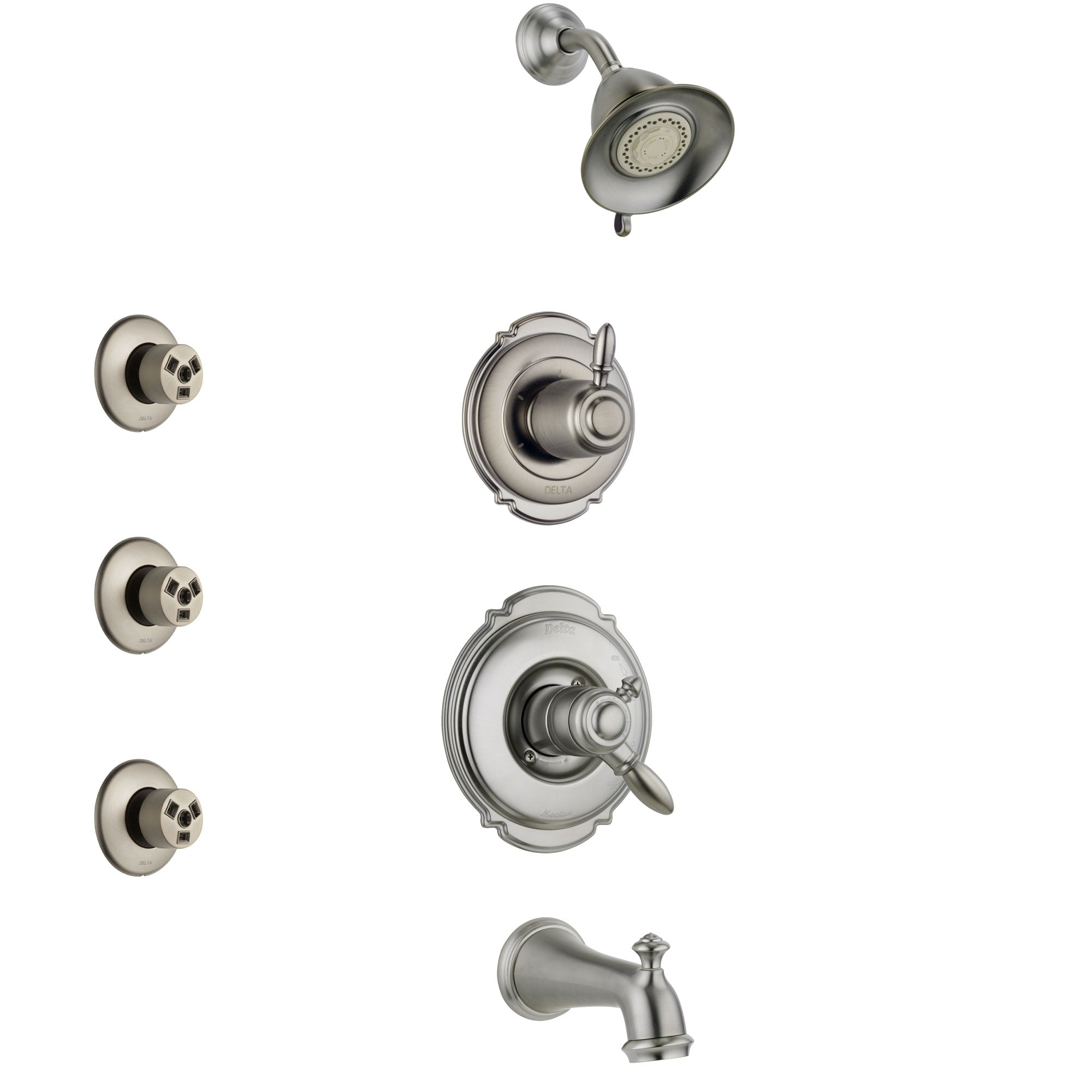 Delta Victorian Stainless Steel Finish Tub and Shower System with Dual Control Handle, 3-Setting Diverter, Showerhead, and 3 Body Sprays SS17455SS1