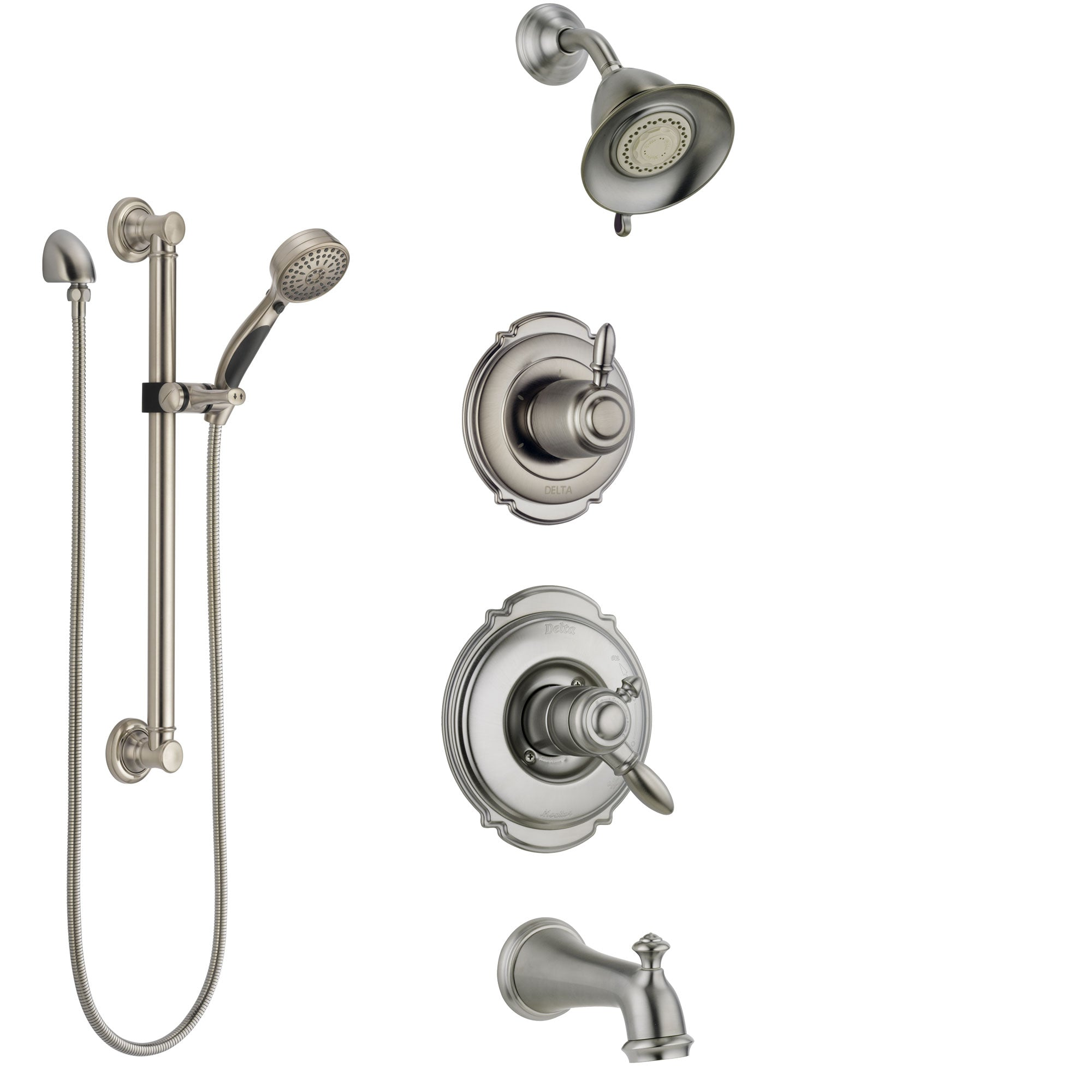 Delta Victorian Stainless Steel Finish Tub and Shower System with Dual Control Handle, Diverter, Showerhead, and Hand Shower with Grab Bar SS17455SS3