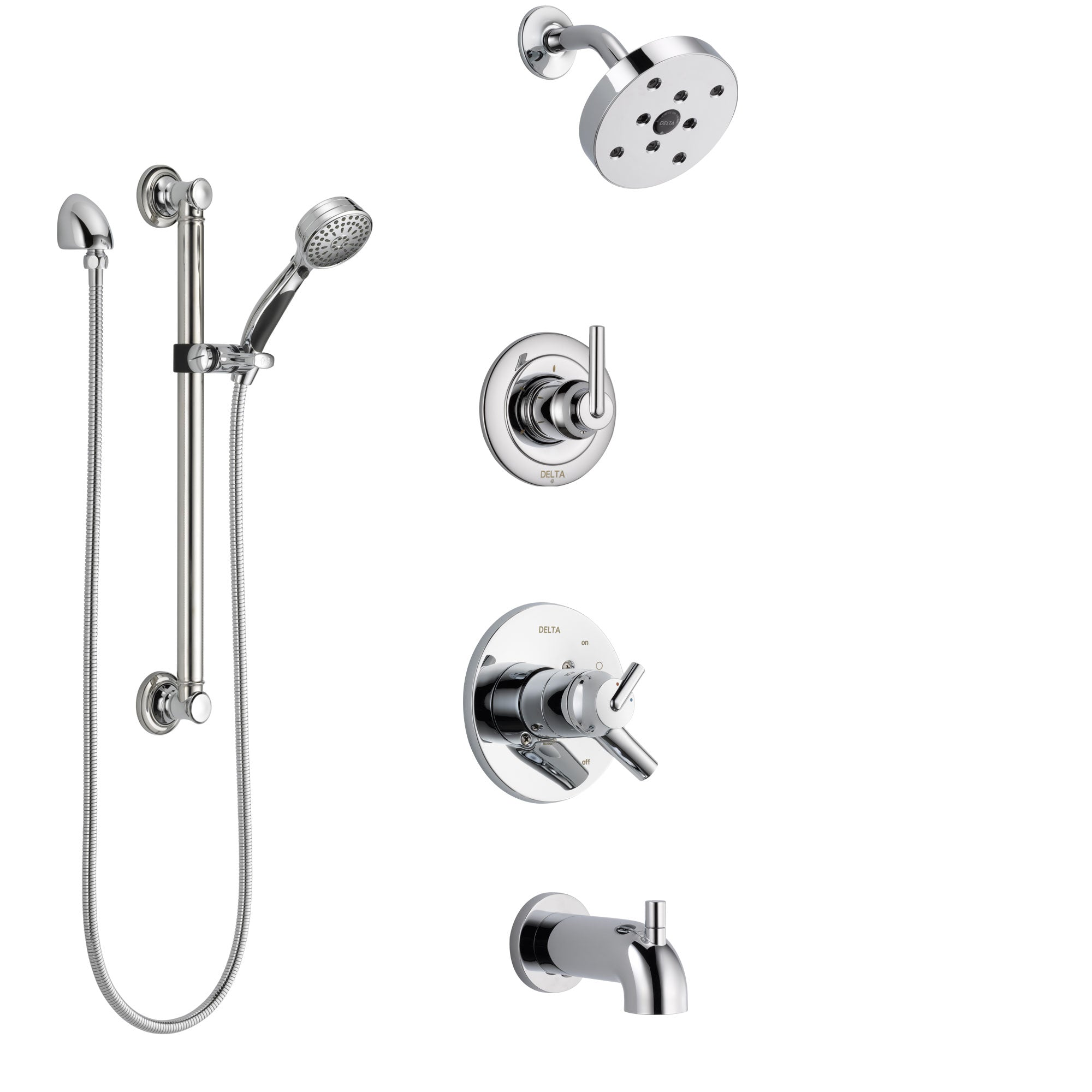 Delta Trinsic Chrome Finish Tub and Shower System with Dual Control Handle, 3-Setting Diverter, Showerhead, and Hand Shower with Grab Bar SS174593