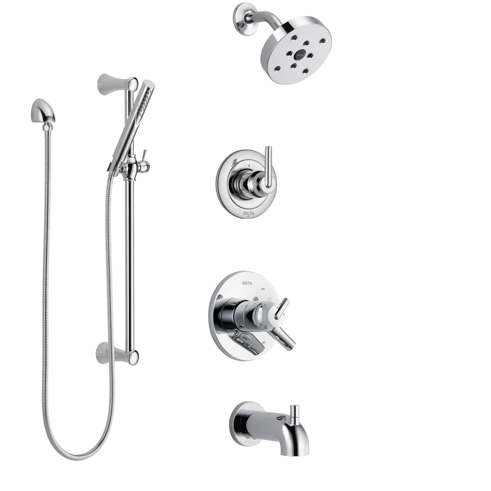 Delta Trinsic Chrome Finish Tub and Shower System with Dual Control Handle, 3-Setting Diverter, Showerhead, and Hand Shower with Slidebar SS174596