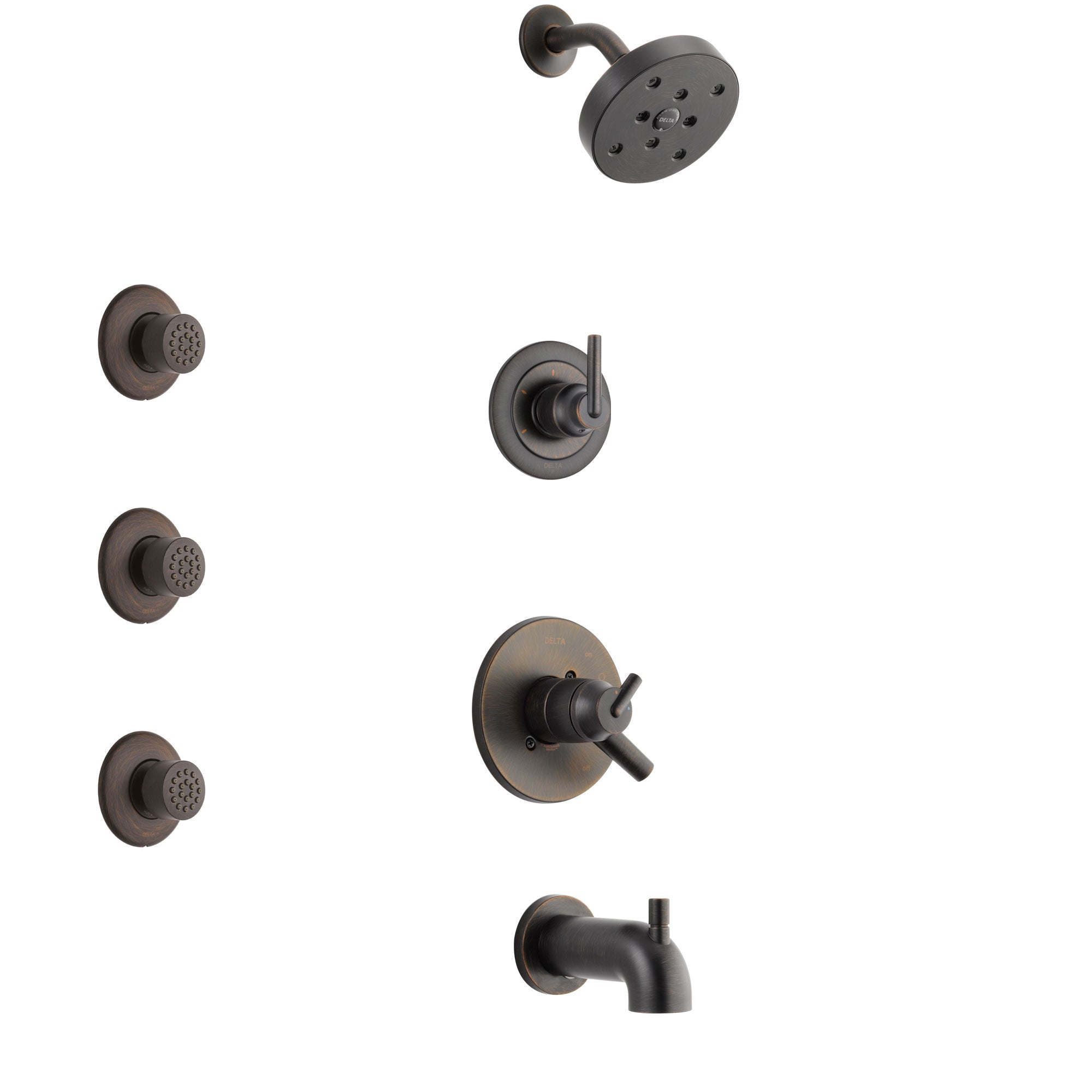 Delta Trinsic Venetian Bronze Finish Tub and Shower System with Dual Control Handle, 3-Setting Diverter, Showerhead, and 3 Body Sprays SS17459RB1