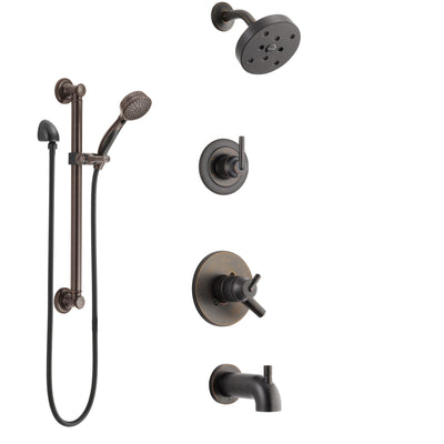 Delta Trinsic Venetian Bronze Tub and Shower System with Dual Control Handle, 3-Setting Diverter, Showerhead, and Hand Shower with Grab Bar SS17459RB3