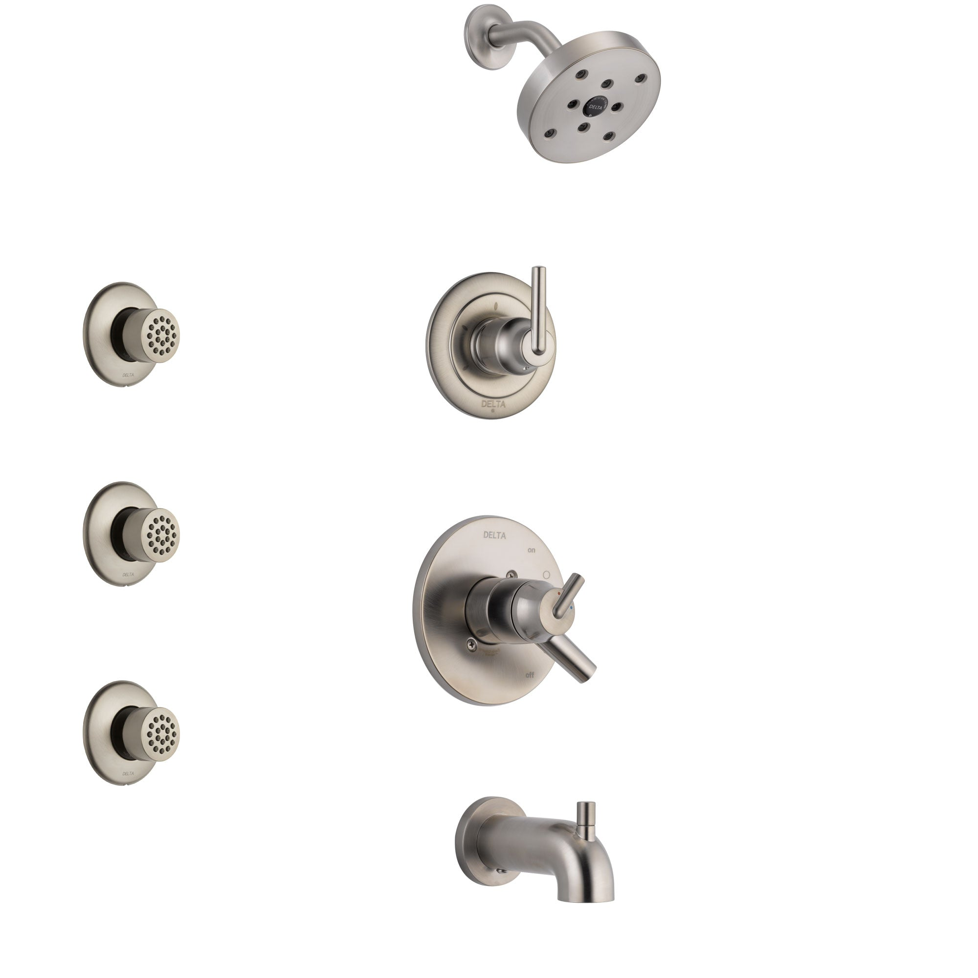 Delta Trinsic Stainless Steel Finish Tub and Shower System with Dual Control Handle, 3-Setting Diverter, Showerhead, and 3 Body Sprays SS17459SS2
