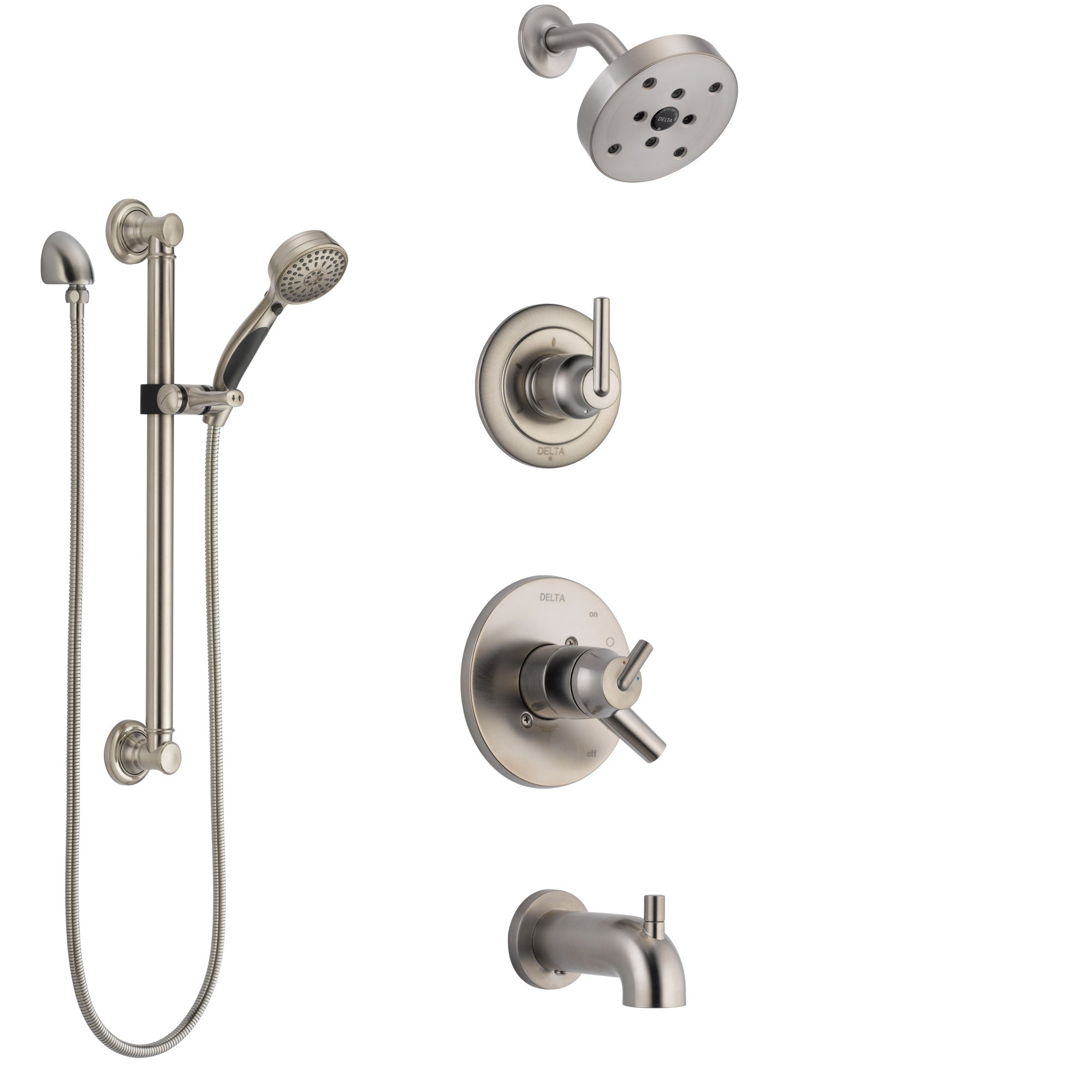 Delta Trinsic Stainless Steel Finish Tub and Shower System with Dual Control Handle, Diverter, Showerhead, and Hand Shower with Grab Bar SS17459SS3