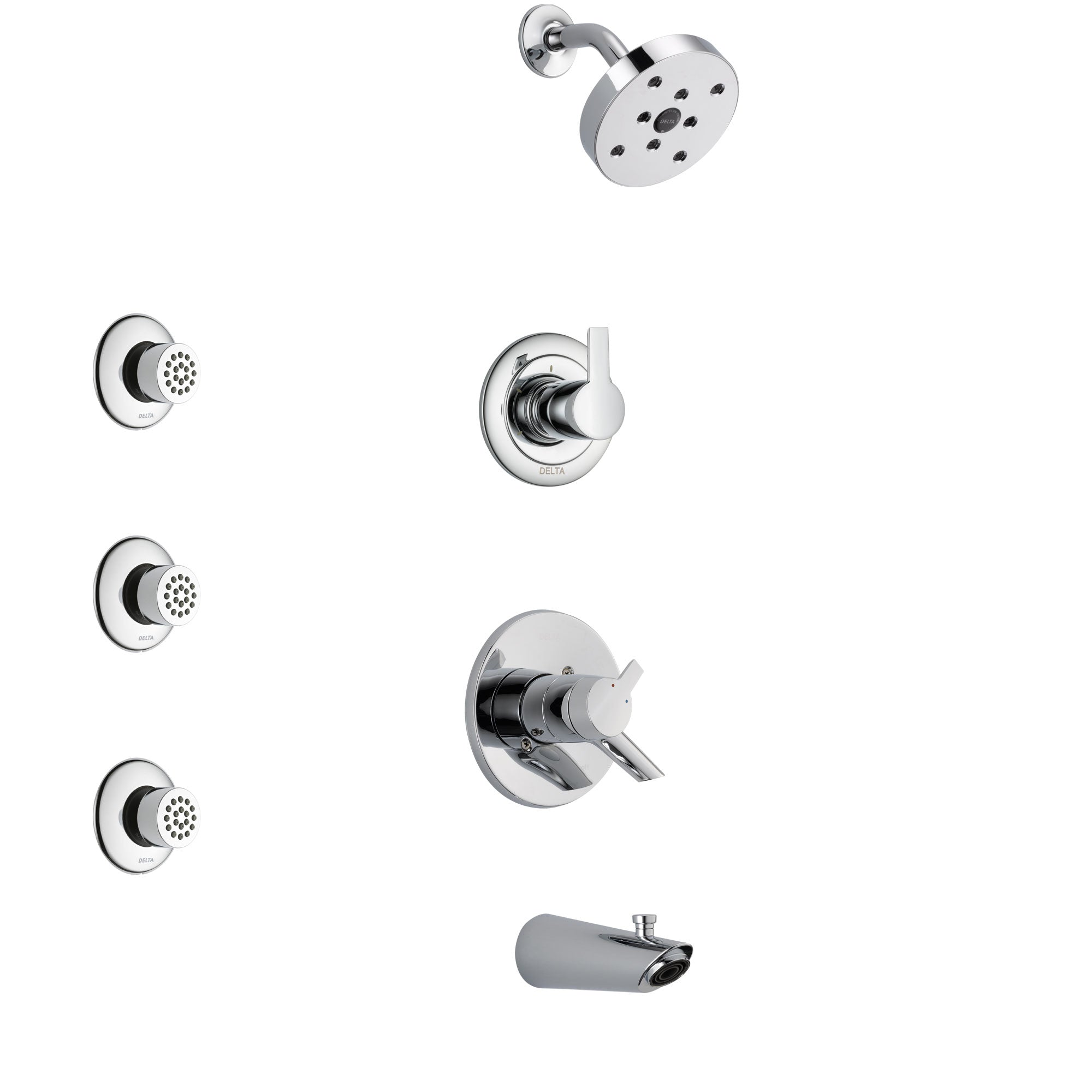 Delta Compel Chrome Finish Tub and Shower System with Dual Control Handle, 3-Setting Diverter, Showerhead, and 3 Body Sprays SS174611