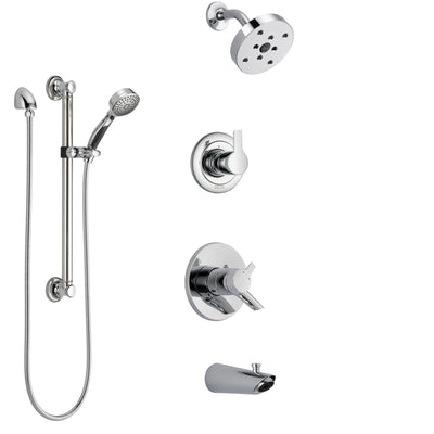 Delta Compel Chrome Finish Tub and Shower System with Dual Control Handle, 3-Setting Diverter, Showerhead, and Hand Shower with Grab Bar SS174613