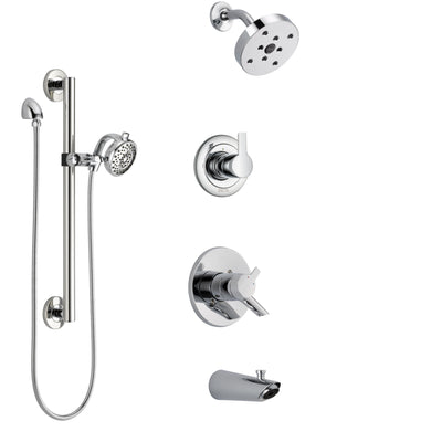 Delta Compel Chrome Finish Tub and Shower System with Dual Control Handle, 3-Setting Diverter, Showerhead, and Hand Shower with Grab Bar SS174615