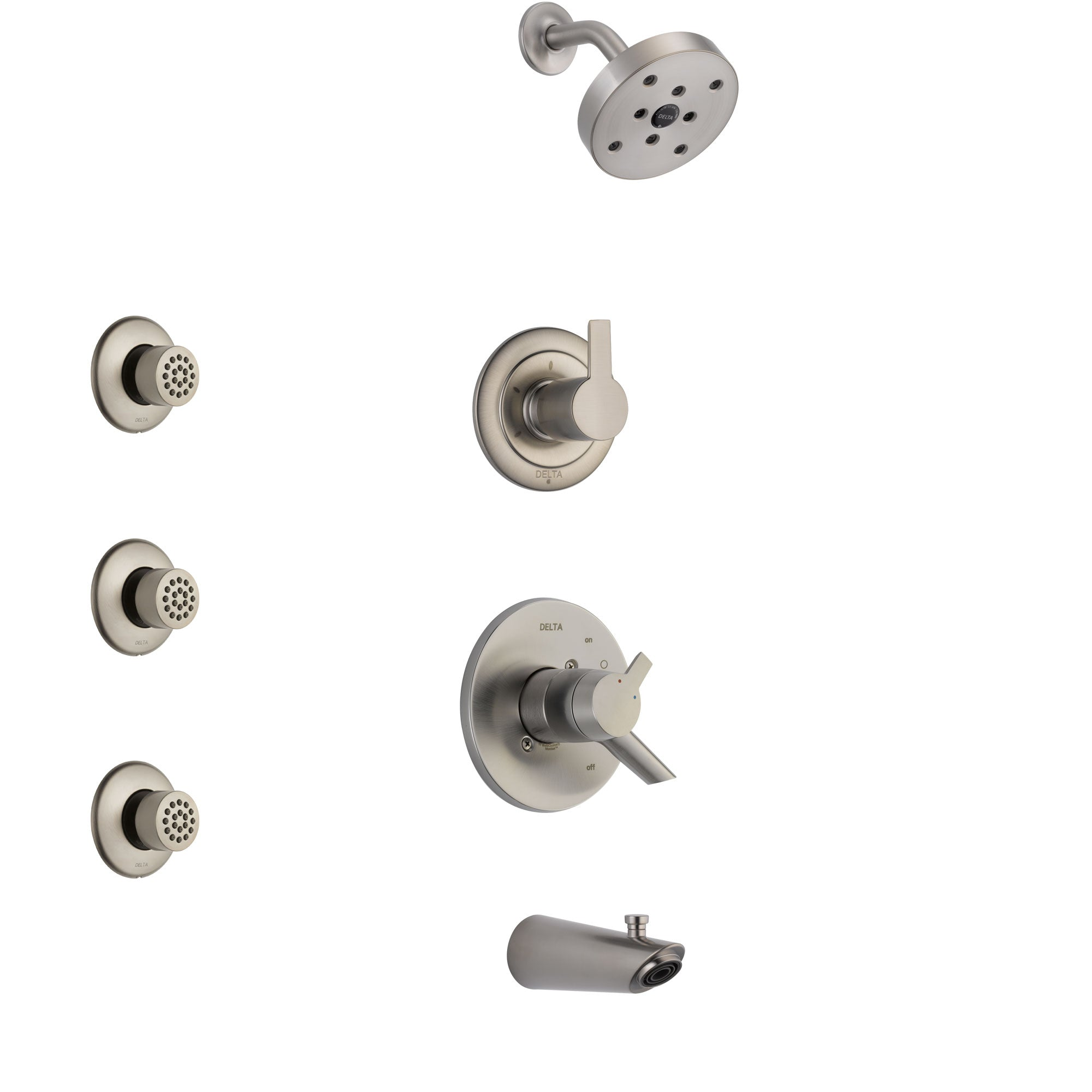 Delta Compel Stainless Steel Finish Tub and Shower System with Dual Control Handle, 3-Setting Diverter, Showerhead, and 3 Body Sprays SS17461SS2