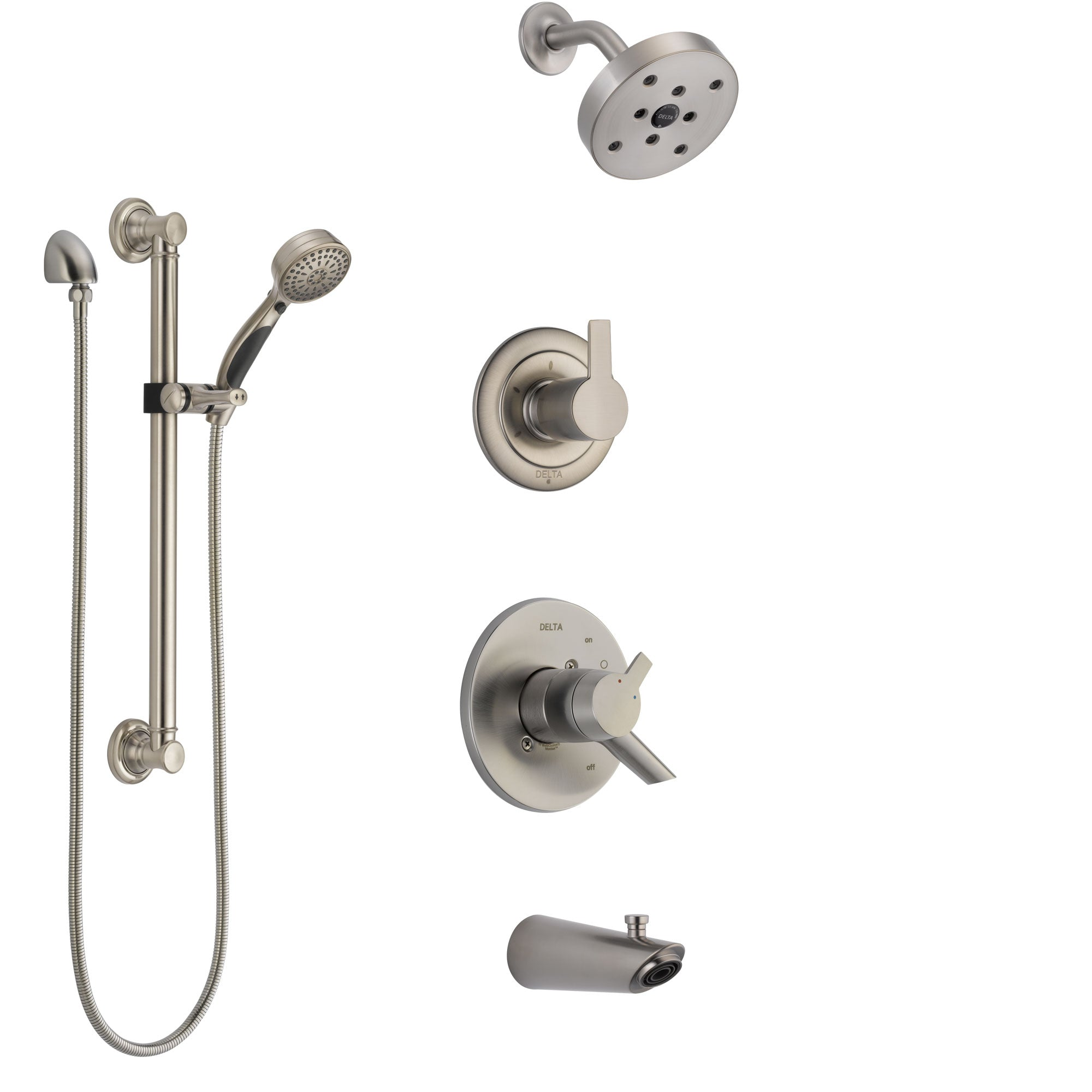 Delta Compel Stainless Steel Finish Tub and Shower System with Dual Control Handle, Diverter, Showerhead, and Hand Shower with Grab Bar SS17461SS3
