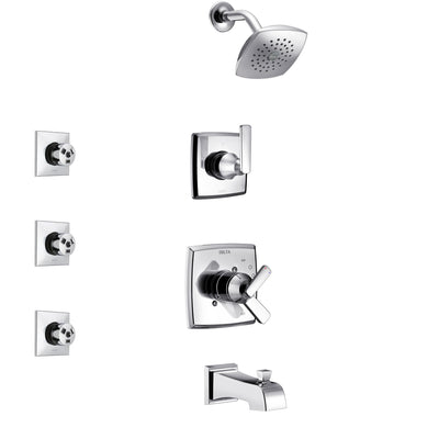 Delta Ashlyn Chrome Finish Tub and Shower System with Dual Control Handle, 3-Setting Diverter, Showerhead, and 3 Body Sprays SS174642