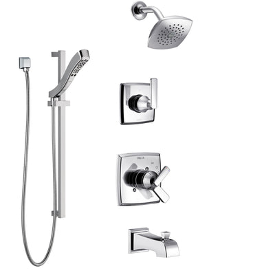 Delta Ashlyn Chrome Finish Tub and Shower System with Dual Control Handle, 3-Setting Diverter, Showerhead, and Hand Shower with Slidebar SS174644