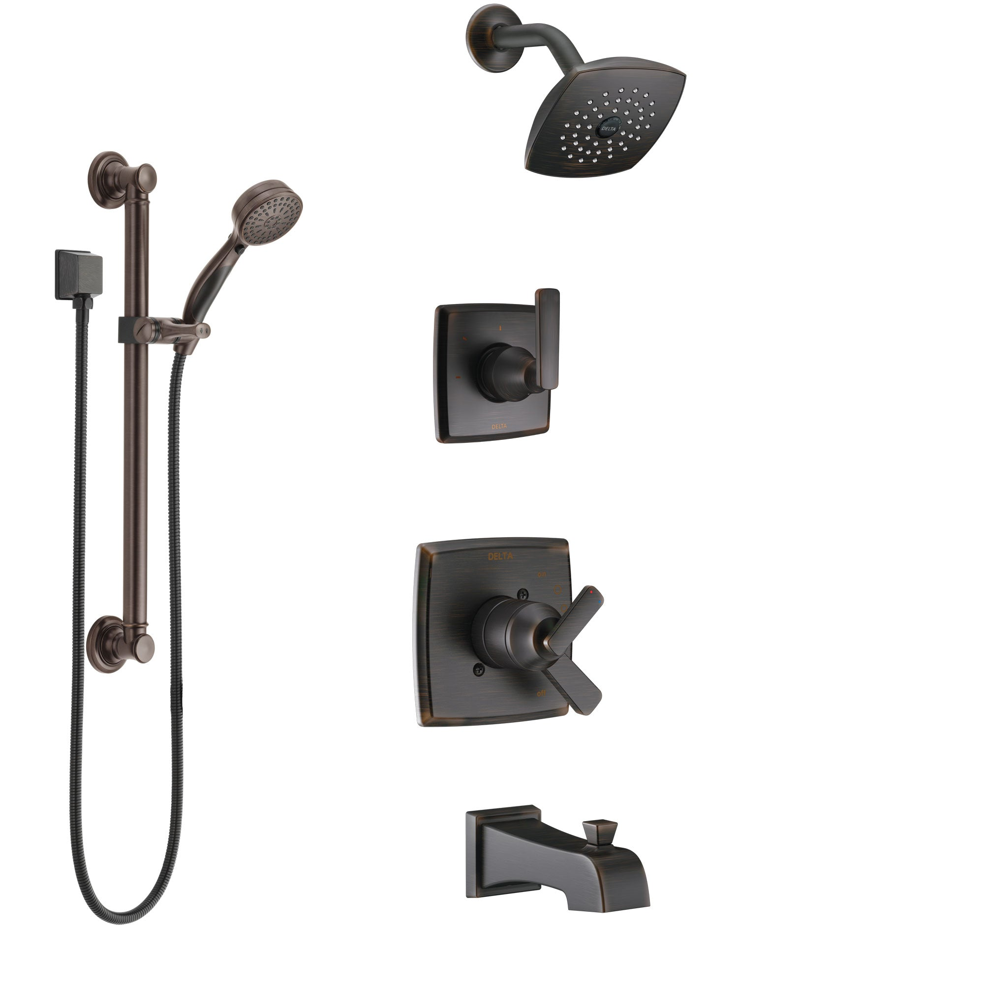 Delta Ashlyn Venetian Bronze Tub and Shower System with Dual Control Handle, 3-Setting Diverter, Showerhead, and Hand Shower with Grab Bar SS17464RB3