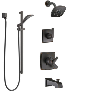 Delta Ashlyn Venetian Bronze Tub and Shower System with Dual Control Handle, 3-Setting Diverter, Showerhead, and Hand Shower with Slidebar SS17464RB5