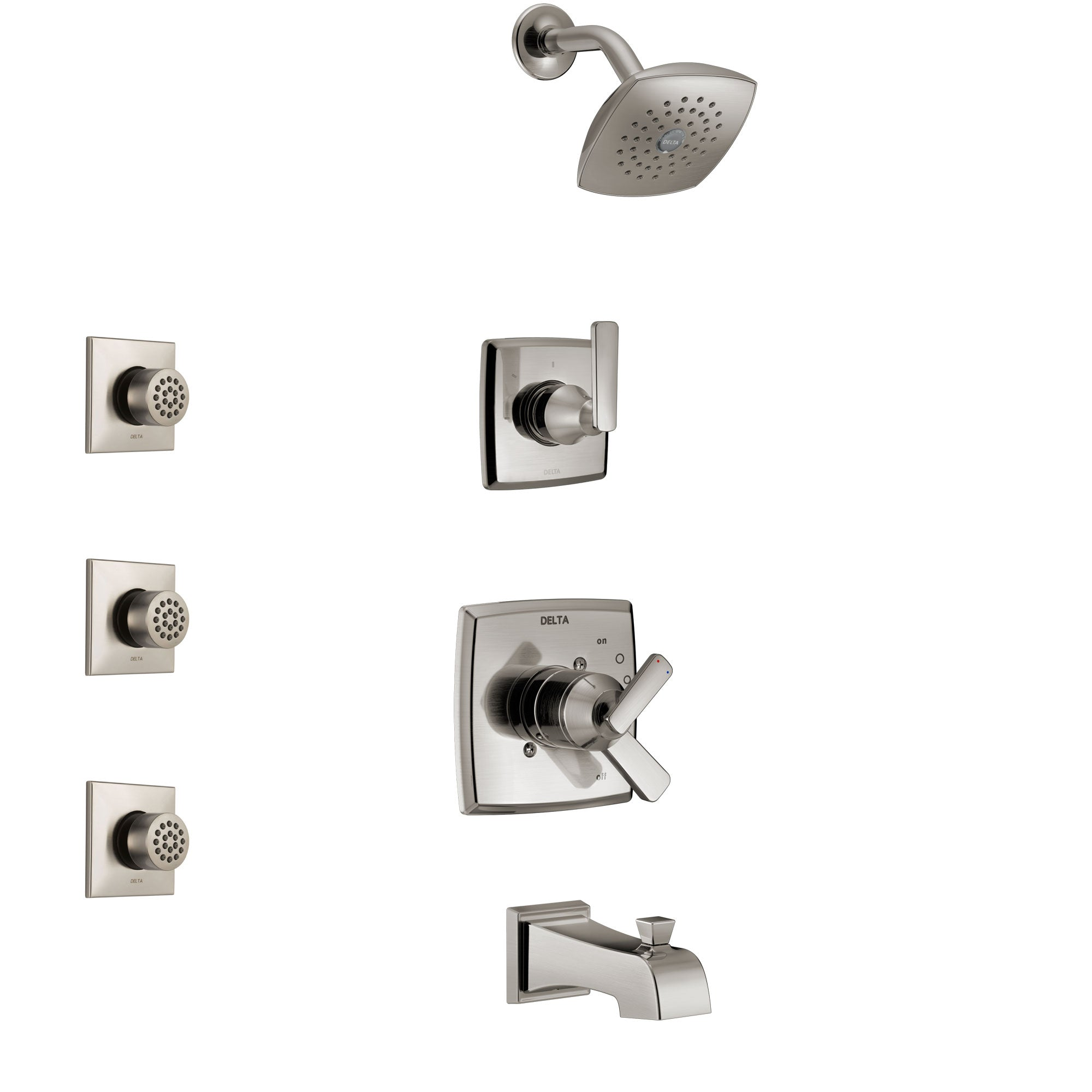 Delta Ashlyn Stainless Steel Finish Tub and Shower System with Dual Control Handle, 3-Setting Diverter, Showerhead, and 3 Body Sprays SS17464SS2