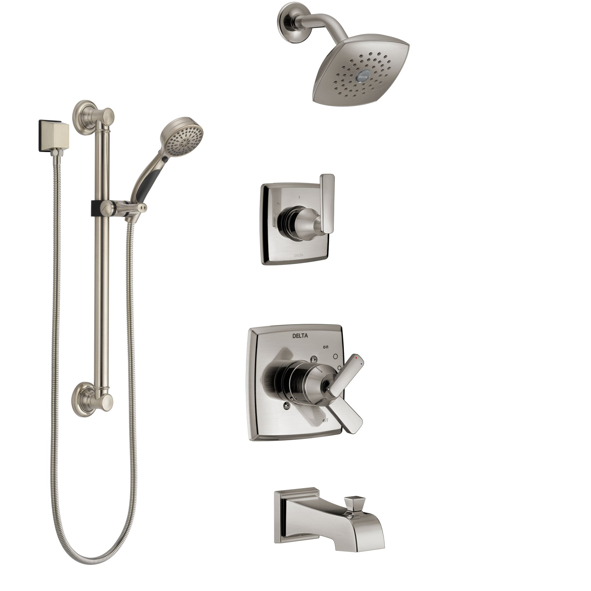 Delta Ashlyn Stainless Steel Finish Tub And Shower System With Dual Control Handle Diverter Showerhead And Hand Shower With Grab Bar Ss17464ss3