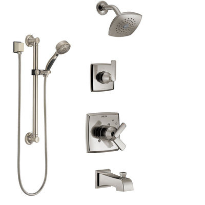 Delta Ashlyn Stainless Steel Finish Tub and Shower System with Dual Control Handle, Diverter, Showerhead, and Hand Shower with Grab Bar SS17464SS3