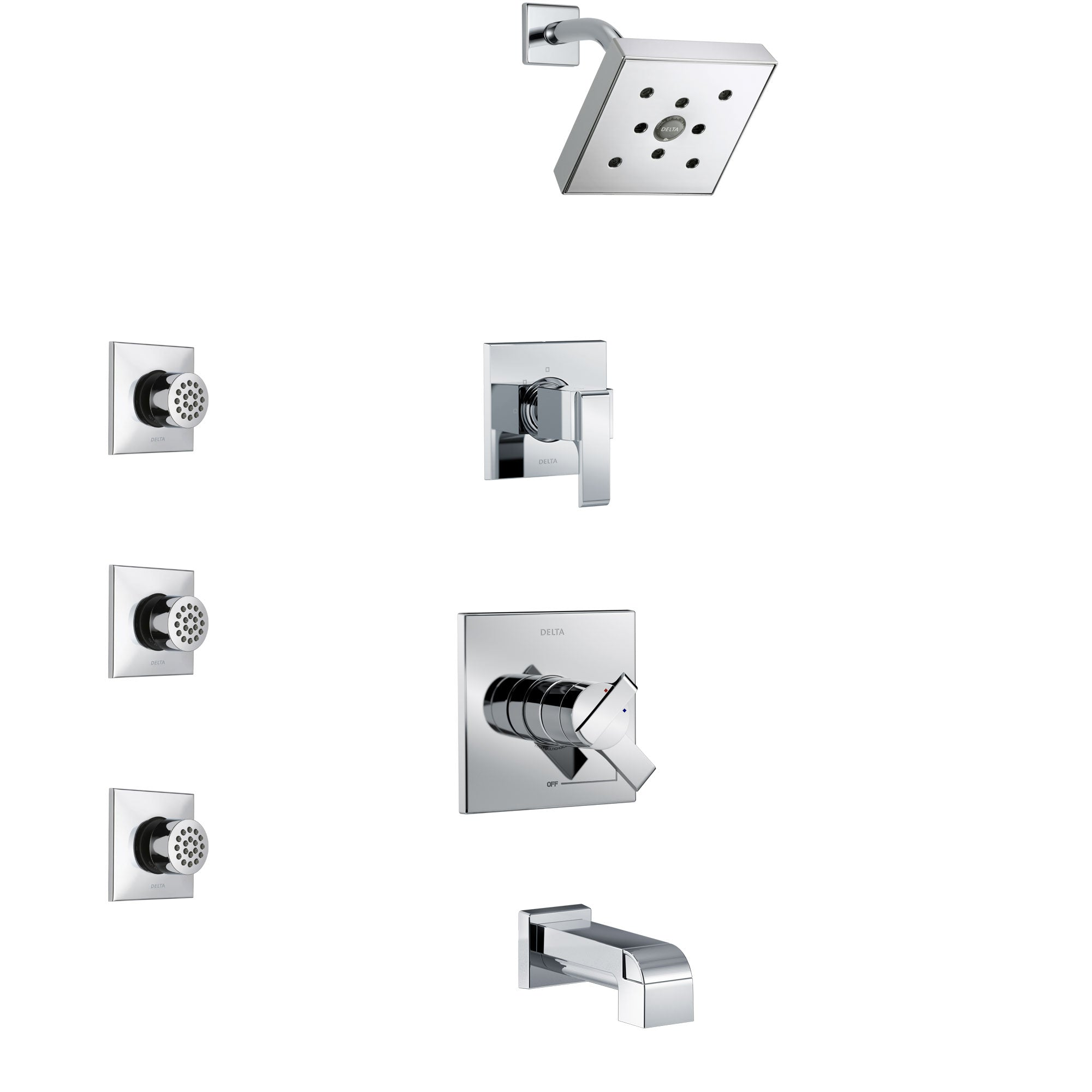 Delta Ara Chrome Finish Tub and Shower System with Dual Control Handle, 3-Setting Diverter, Showerhead, and 3 Body Sprays SS174671