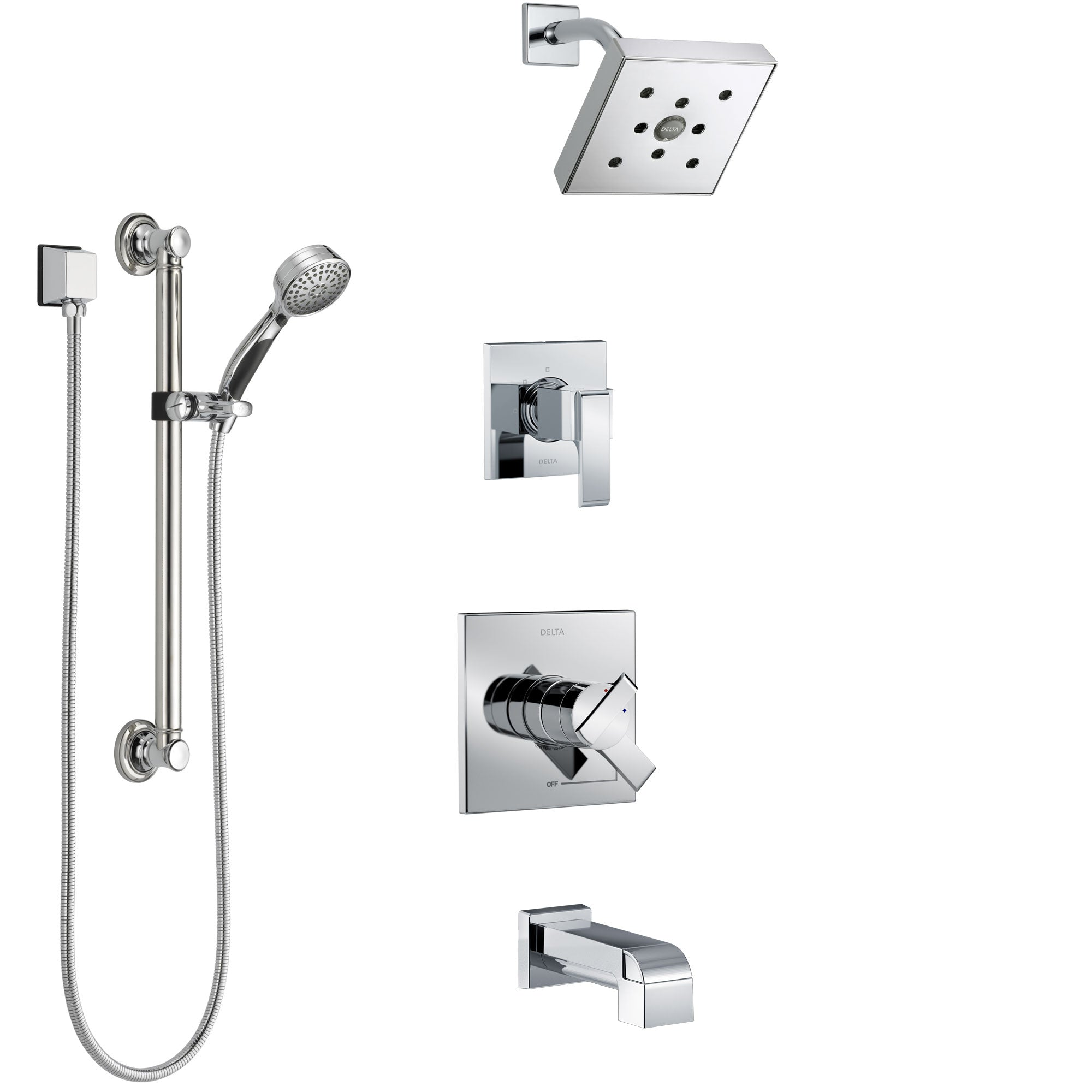 Delta Ara Chrome Finish Tub and Shower System with Dual Control Handle, 3-Setting Diverter, Showerhead, and Hand Shower with Grab Bar SS174673