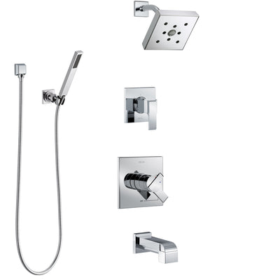 Delta Ara Chrome Finish Tub and Shower System with Dual Control Handle, 3-Setting Diverter, Showerhead, and Hand Shower with Wall Bracket SS174674