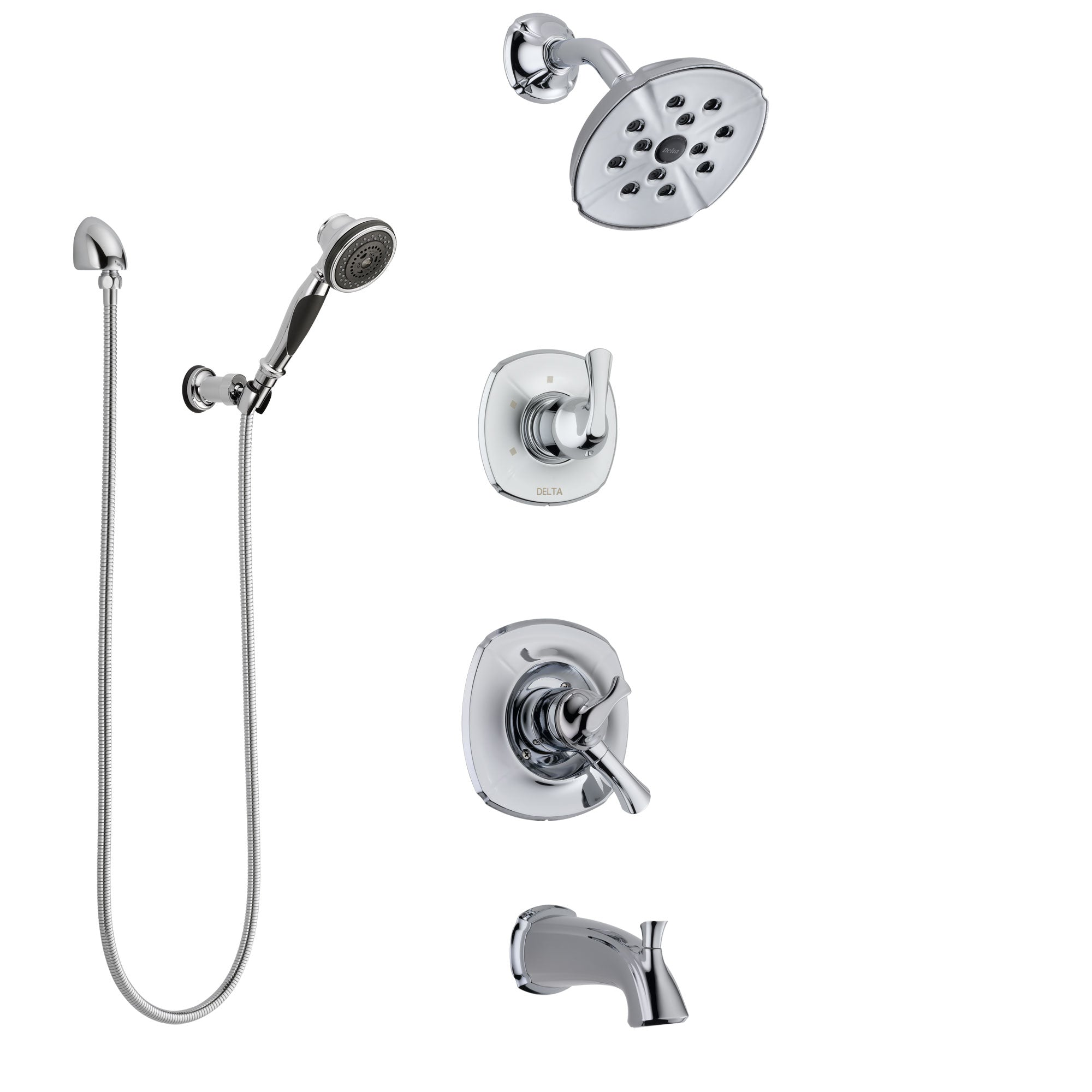 Delta Addison Chrome Finish Tub and Shower System with Dual Control Handle, 3-Setting Diverter, Showerhead, and Hand Shower with Wall Bracket SS174926