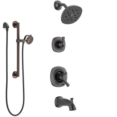 Delta Addison Venetian Bronze Tub and Shower System with Dual Control Handle, 3-Setting Diverter, Showerhead, and Hand Shower with Grab Bar SS17492RB5