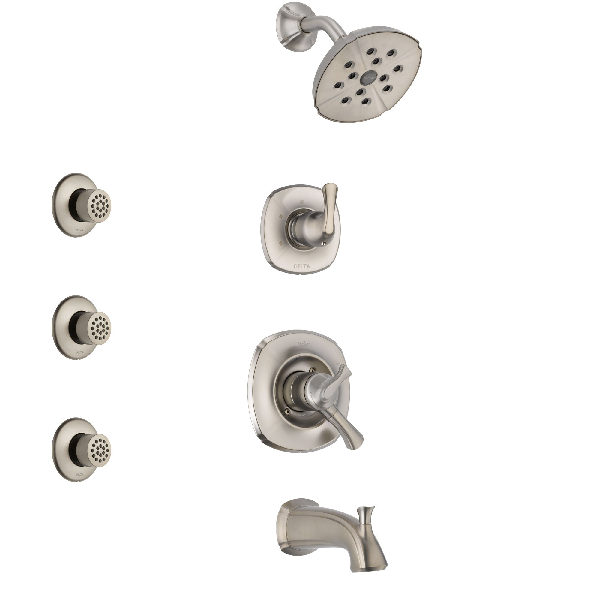 Delta Addison Stainless Steel Finish Tub and Shower System with Dual Control Handle, 3-Setting Diverter, Showerhead, and 3 Body Sprays SS17492SS2