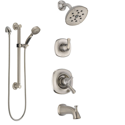 Delta Addison Stainless Steel Finish Tub and Shower System with Dual Control Handle, Diverter, Showerhead, and Hand Shower with Grab Bar SS17492SS3