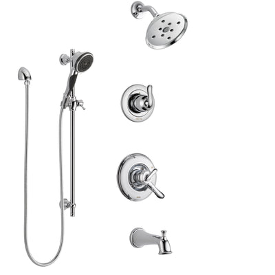 Delta Linden Chrome Finish Tub and Shower System with Dual Control Handle, 3-Setting Diverter, Showerhead, and Hand Shower with Slidebar SS174945