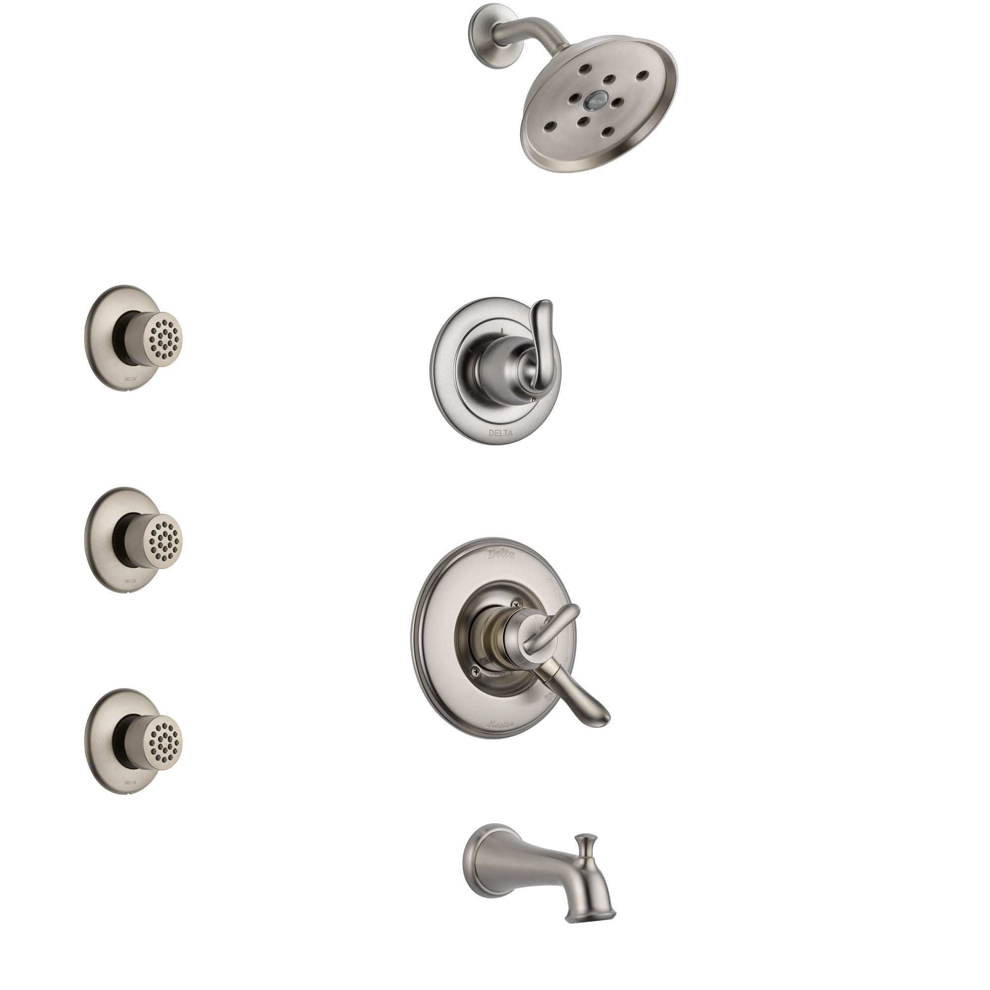 Delta Linden Stainless Steel Finish Tub and Shower System with Dual Control Handle, 3-Setting Diverter, Showerhead, and 3 Body Sprays SS17494SS2