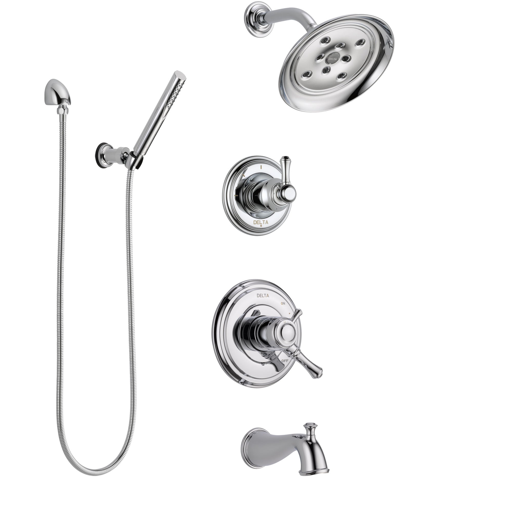 Delta Cassidy Chrome Finish Tub and Shower System with Dual Control Handle, 3-Setting Diverter, Showerhead, and Hand Shower with Wall Bracket SS174976
